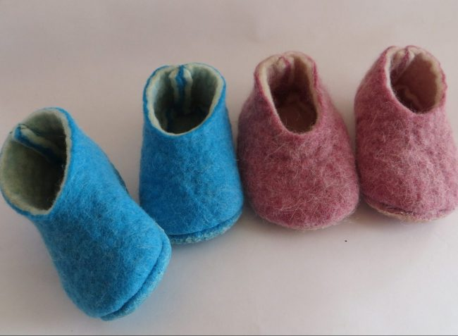felted slippers out of discarded but good sheeps wool